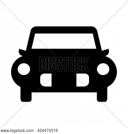 Symbol Car Prohibition Sign On White Background