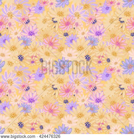 Seamless Pattern With Cute Pink, Yellow, Purple, White Chamomiles. Hand Drawn Vector Illustration On