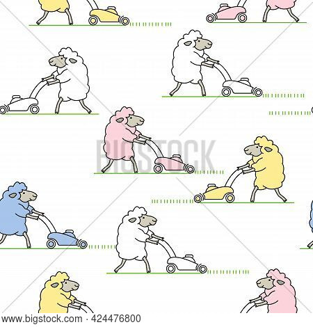 Many Cheerful Colored Sheep Mows The Grass With A Lawn Mower And Makes Lawn. Cute Cartoon Seamless P