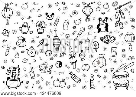 Feng Shui Icons, Fortune Cookies, Yin Yang Doodle Elements Collection. Wealth And Prosperity