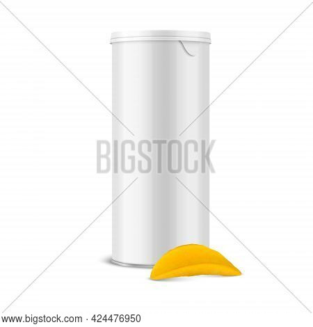 Vector 3d Realistic Blank White Glossy Metal Tin Can, Canned Food, Potato Chips Packaging With Lid A
