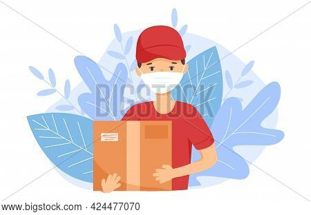 A Courier With A Box Delivered An Online Order. A Peddler During The Prevention Of Covid-19. The Man