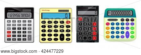 Set Of Realistic Calculator Business Accounting Isolated Or Calculator For Finance Work Tool Or Real