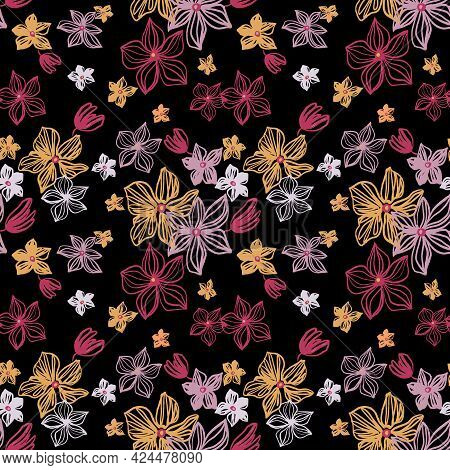 Abstract Flowers Vector Seamless Pattern With Drawing Yellow, Gold, Silver, Red . Floral Watercolor