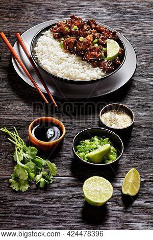 Crispy Cauliflower Wings With Teriyaki Sauce Topped With Fresh Cilantro, Sesame Seeds, Scallion Serv