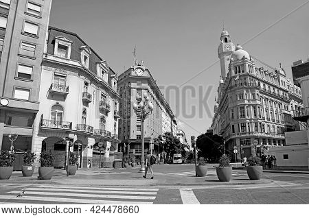 Citycenter Of Buenos Aires With Group Of Stunning Buildings, Argentina, South America In Monochrome,