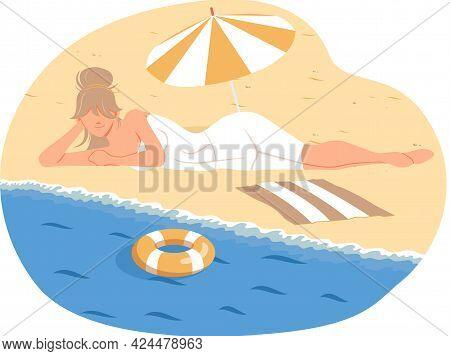Woman Relaxing On Sun Under Beach Umbrella On Vacation, Sunbathing On Sandy Shore Near Water, Summer