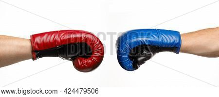 Blue And Red Boxing Gloves. Confrontation And Duel. Fight And Fight.
