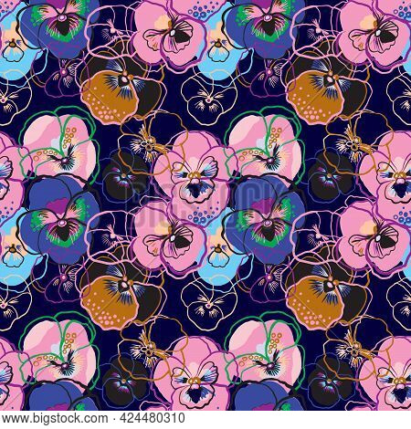 Vector Illustration Of Floral Seamless Pattern. Pink, Red, Yellow, Purple Flowers On Blue Background