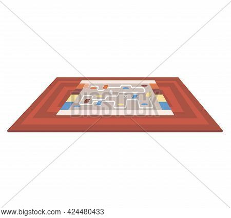 Board Game With Cubes And Road To Pass. Multicolored Map With Path To Finish Line To Win. Board Game