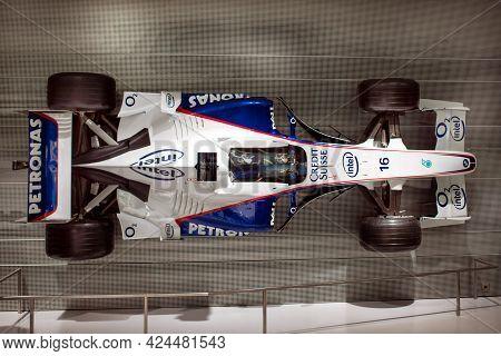 Munich, Germany - September 14, 2018: A Formula One Race Car Of Bmw Sauber Team In Munich Bmw Welt M
