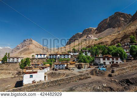 Ki village and monastery in Himalayas. Himachal Pradesh, India