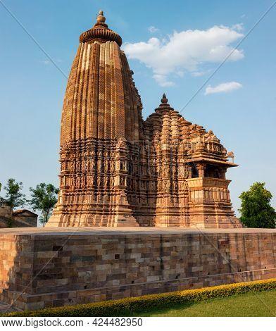 Vamana Temple - one of famous tourist attractions of Khajuraho with sculptures. India, Khajuraho, Madhya Pradesh, India