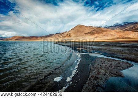 Himalayan scenic landscape scenery near Tso Kar - fluctuating salt lake in Himalayas. Rapshu, Ladakh, Jammu and Kashmir, India