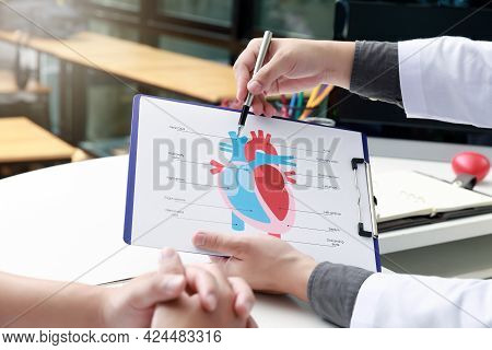 Doctor Explaining Heart To Patient About Details And Risks Operation. Healthcare And Medical Concept