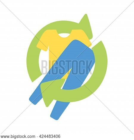 Flat Design Used Cloth And Textiles Recycling Symbol. Upcycle Concept. Secondary Use Of Clothes Conc