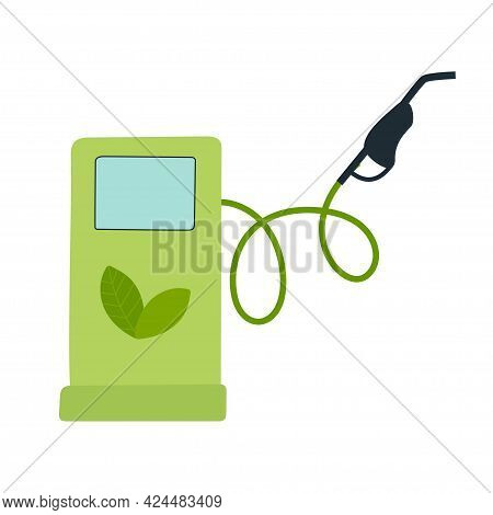 Green Eco Fuel. Petrol Station Sign. Green Fuel Pump With Leaf. Environmental Protection, Ecology, S