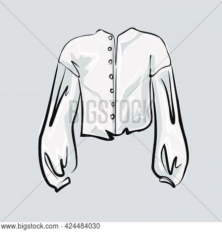 Classic Smart Work White Blouse, Shirt. Part Of A Basic Wardrobe Set. Clothing Store, Fashion. Isola