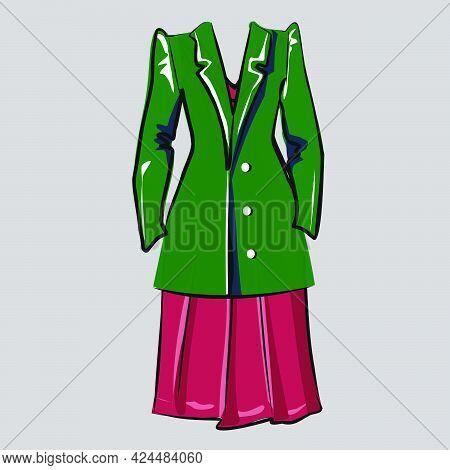 Basic Wardrobe, Clothing. Dress And Jacket. Clothing Store. Isolated Vector Objects.