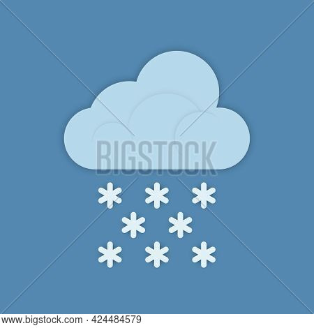 The Weather Forecast Icon Of A Cloud With Snowflakes Is Isolated On A Blue Background. Vector Illust