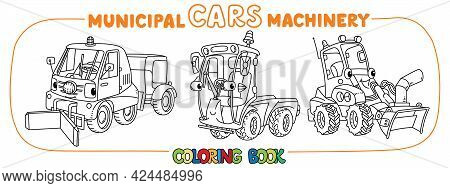 Funny Municipal Cars With Eyes Coloring Book Set