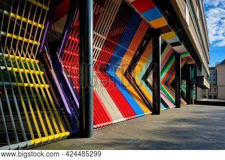 Closed colorful gates of of the Dutch Ministry of Finance at The Hague, the Netherlands