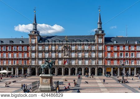 Madrid, Spain - April 17, 2021: Scenic Of Plaza Mayor Square In Madrid, Spain. View During Restrctio