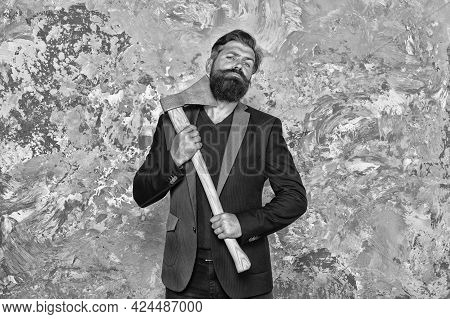 No Fear. Brutal Business. Cutting Concept. Sharp Blade. Brutality And Masculinity. Brutal Bearded Bu