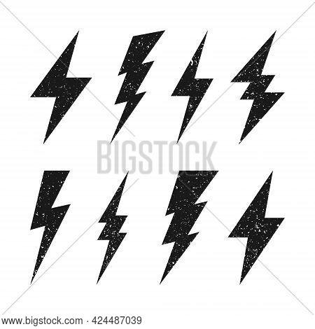 Lightning Bolt Icons With Grunge Texture Isolated On White Background. Vintage Flash Symbol, Thunder