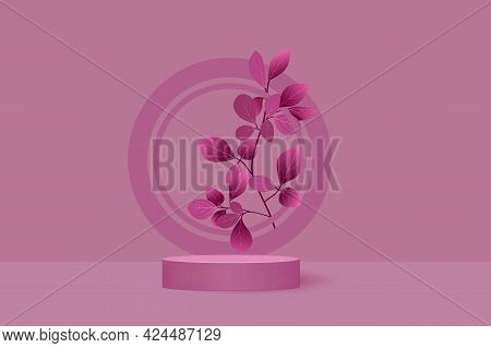 Cosmetic Product Display Platform, Showcase, Showcase Or Birthday.abstract Realistic Cylindrical Pod