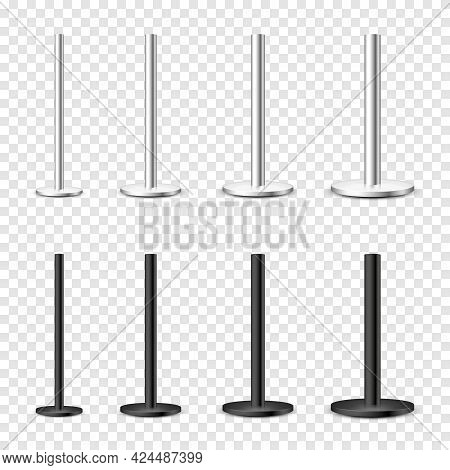 Realistic Metal Poles Collection Isolated On Transparent Background. Glossy Steel Pipes Of Various D