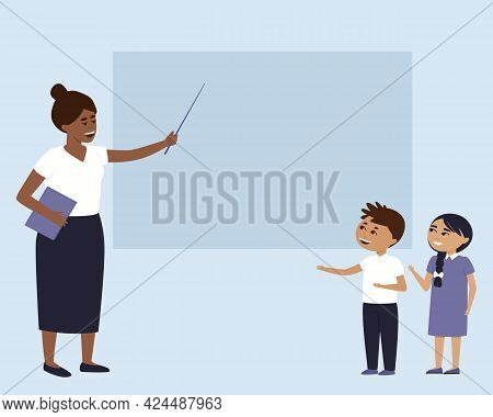 School Theme Frame With Teacher And Students. The Teacher Points To The Board With A Pointer. Childr