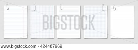 Realistic Blank Paper Sheets In A4 Format With Metal Clip, Holder On Gray Background. Notebook Page,