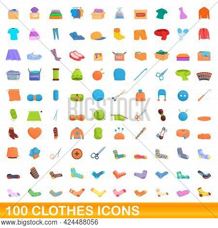 100 Clothes Icons Set. Cartoon Illustration Of 100 Clothes Icons Vector Set Isolated On White Backgr