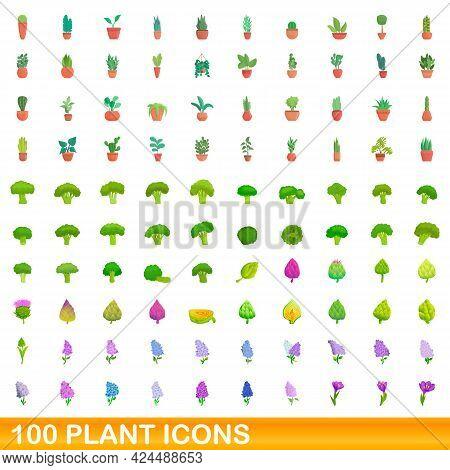 100 Plant Icons Set. Cartoon Illustration Of 100 Plant Icons Vector Set Isolated On White Background