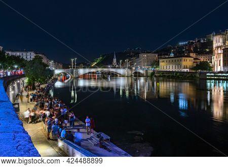 Lyon, France - June 11, 2021 : Night view in Lyon city