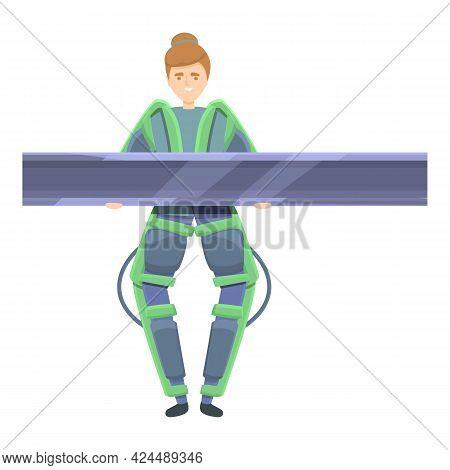 Powerful Exoskeleton Icon. Cartoon Of Powerful Exoskeleton Vector Icon For Web Design Isolated On Wh