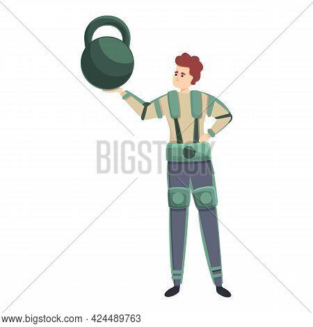 Military Exoskeleton Icon. Cartoon Of Military Exoskeleton Vector Icon For Web Design Isolated On Wh
