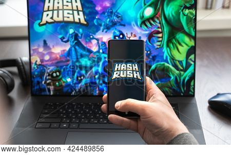 Russia Moscow 30.05.2021.logo, Screenshot Of Blockchain Nft Ethereum Cryptocurrency Game Hash Rush I