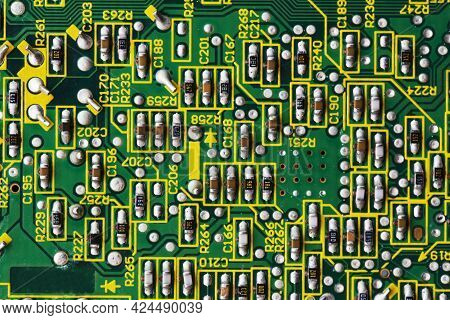 Green Printed Circuit Board Pcb With Chip Texture Or Background. Electronic Embedded System Design