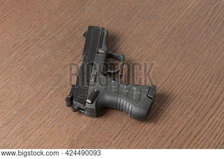 Black 9mm Modern Fire Gun Pistol Of Cop Isolated