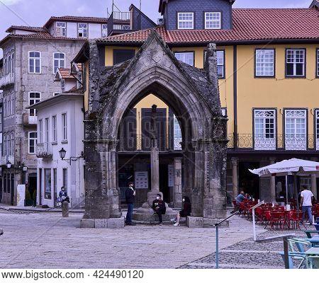 Guimaraes (portugal), June 19, 2021. Plaza Da Oliveira. Guimarães Is A Municipality Located In North