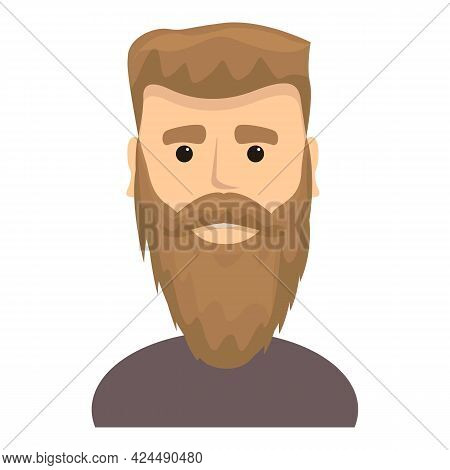 Guy With Long Beard Icon. Cartoon Of Guy With Long Beard Vector Icon For Web Design Isolated On Whit