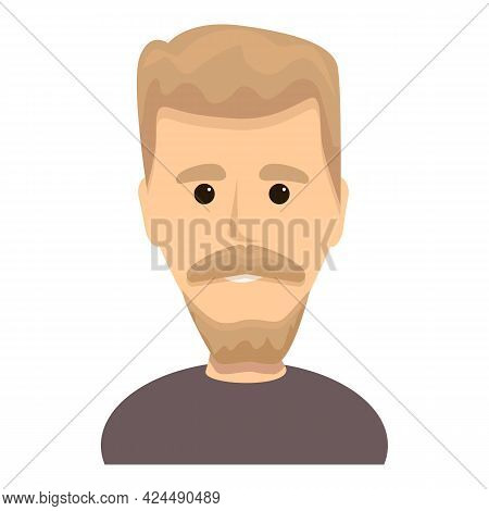 Bearded Blond Guy Icon. Cartoon Of Bearded Blond Guy Vector Icon For Web Design Isolated On White Ba