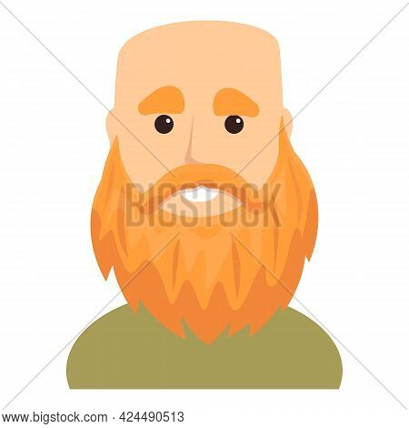 Bald Bearded Man Icon. Cartoon Of Bald Bearded Man Vector Icon For Web Design Isolated On White Back