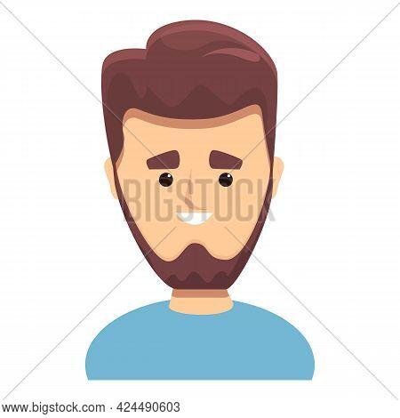 Bearded Man With Nice Haircut Icon. Cartoon Of Bearded Man With Nice Haircut Vector Icon For Web Des