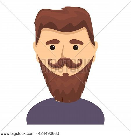 Bearded Man With Twisted Moustache Icon. Cartoon Of Bearded Man With Twisted Moustache Vector Icon F