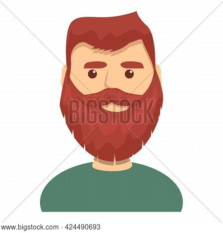 Red Haired Bearded Guy Icon. Cartoon Of Red Haired Bearded Guy Vector Icon For Web Design Isolated O