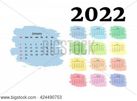 Calendar For 2022 With Large January Isolated On A White Background. Sunday To Monday, Business Temp