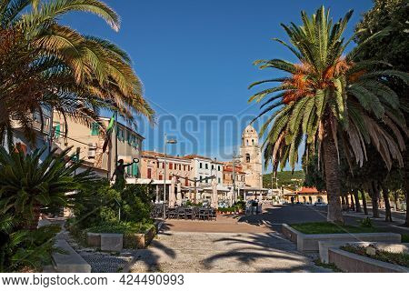 Sirolo, Ancona, Marche, Italy: View Of The City Square Piazzale Marino In The Picturesque Old Town O